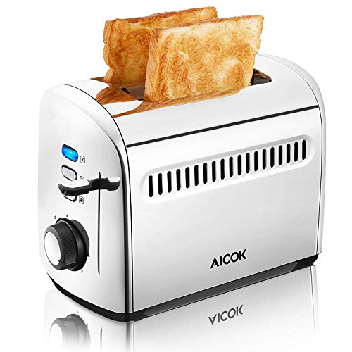 Toaster 2 Slice, Aicok Toaster, Stainless Steel Toaster with Bagel, Defrost and Cancel Function, 7 Browning Control, Extra-Wide Slots, 850W, Silver
