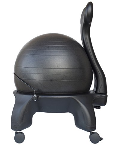 Isokinetics Inc. Tall Boy Balance Exercise Ball Chair - Black 52cm Ball is 2'' Taller than Standard Height - Includes Office Size 60mm (2.5'') Wheels by Isokinetics