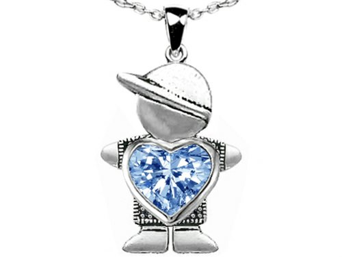 Star K Boy Holding 8mm Mother Heart March Birth Month Pendant Simulated Aquamarine