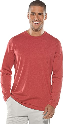 Coolibar UPF 50+ Men's Everyday Long Sleeve T-Shirt - Sun Protective (Medium- Dark Red Heather) - Dog Town Red Dog