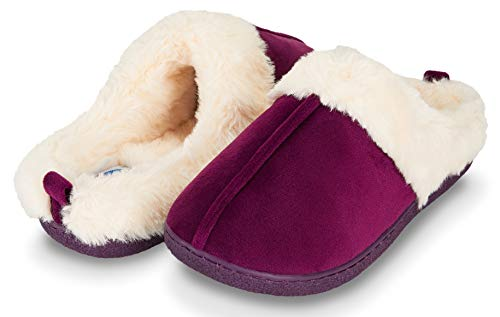 Suede Clog Microfiber (Floopi Womens Indoor Outdoor Soft Velvet Plush Fur Lined Clog Slipper W/Memory Foam (XL, Purple-309))