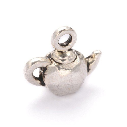 - Bulk Buy Offer! Packet 10 x Antique Silver Tibetan 12mm Tea Pot Charm/Pendant Y09010 (Charming Beads)