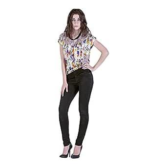 Escale Multi Color Silk Round Neck Blouse For Women