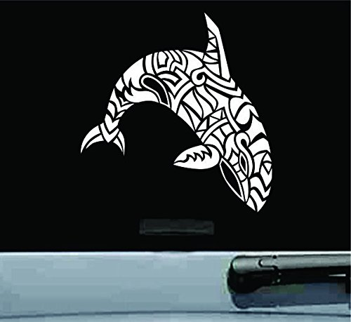 JS Artworks Tribal orca Whale Vinyl Decal Sticker (White)