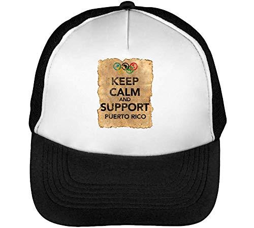 Vintage Keep Calm Support Puerto Rico Gorras Hombre Snapback Beisbol Negro Blanco