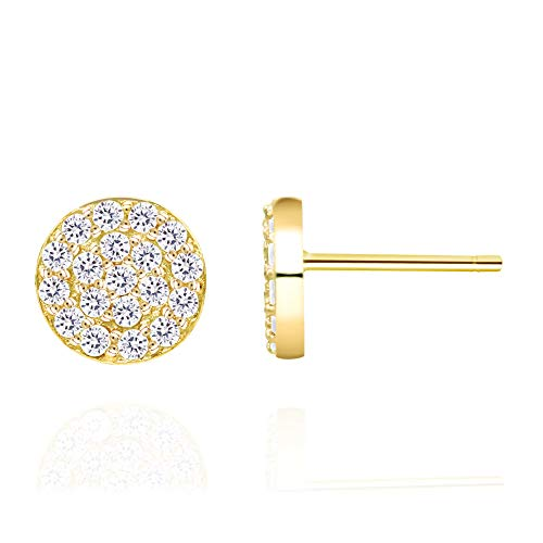 14k Yellow Gold Plated 925 Sterling Silver Cubic Zirconia Mini Circle Pave Disc Stud Earrings 6mm Diameter