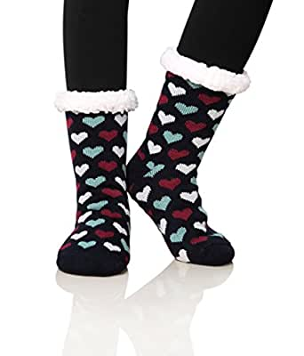 Dosoni Women's Fleece Lining Fuzzy Soft Christmas Knee Highs Stockings Slipper Socks (Heart Black)