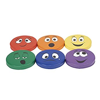 Image of ECR4Kids SoftZone Expression Cushions Set 2 (6-Piece), Assorted Home and Kitchen