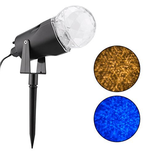 WED Waterproof Spotlight Rotating Led Projector Light with Flame Lightings for Indoor Outdoor Christmas Festival Decorations for Home, Garden, Landscape (Blue & Warm White)