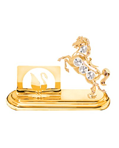 Swarovski Crystal Business Card - 24k Gold Plated Horse Business Card Holder with Clear Swarovski Element Crystals