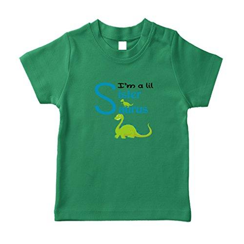 Green Dinosaur Dino Little Sister Saurus Cotton Short Sleeve Crewneck Unisex Toddler T-Shirt Jersey - Kelly Green, 24 (Green Pro Style Jersey)