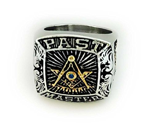 Masonic Rings for Men - Silver Tone Past Master Freemason Ring - Stainless Steel with Gold Plated Color Top - with Mason Symbols (Masonic Jewelry) (Size - Steel Master Past