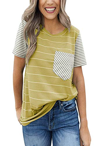 ALBIZIA Women's Short Sleeve Round Neck Top Stripe T-Shirt with Pockets L 2Light Olive