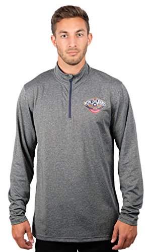 fan products of NBA Men's New Orleans Pelicans Quarter Zip Pullover Shirt Long Sleeve Tee, Large, Gray