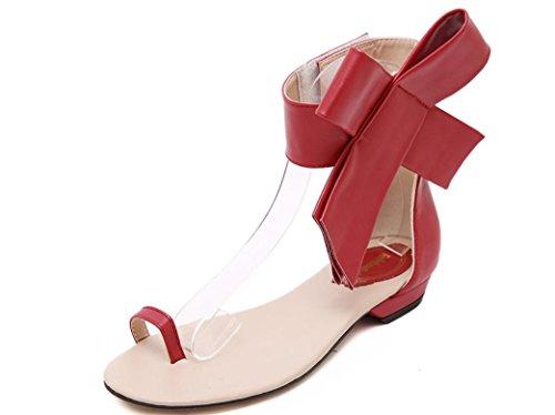 YCMDM Sandali Moda Grandi fiori di Bowknot piatto con sandali tacco basso Side-Tooth sandali primavera-estate , red , 36
