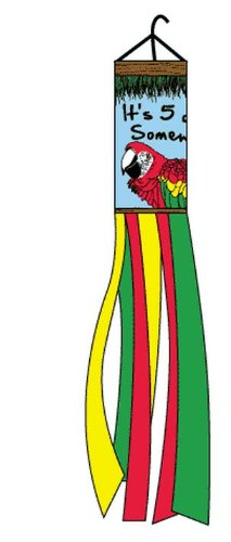 Its 5 O Clock Somewhere Windsock Tiki Parrot 60 Inch Party Happy Hour Wind Sock ()