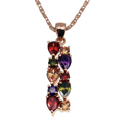 (Vanessa Rose Gold Multi Gemstone Jewelry Sets for Women,Sparkling Garnet Amethyst Morganite Peridot Topaz (Pendant))