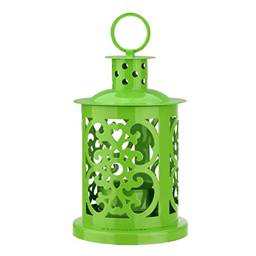 Northlight Shiny Lime Green Mini Votive or Tea Light Candle Holder Lantern with Dot and Scroll Cutouts, 5.5