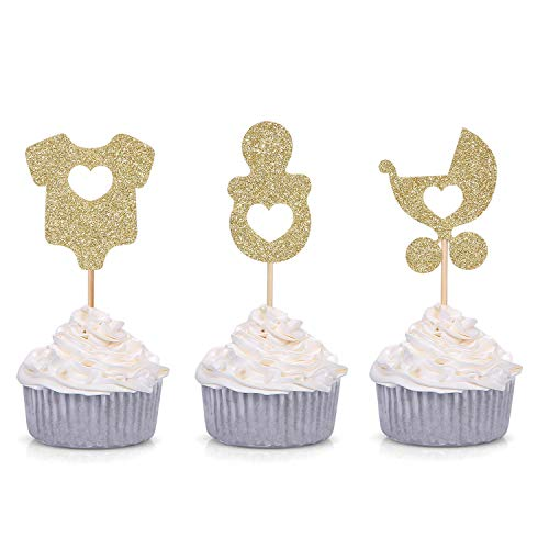 24 Gold Glitter Baby Shower Cupcake Toppers Onesie Pacifier Stroller Shaped Party Decorations