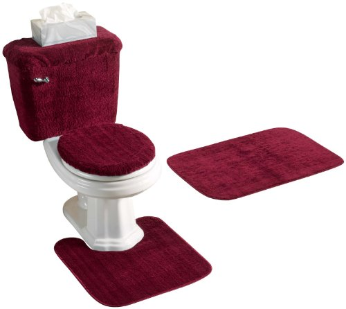 5 PIECE BATH RUG SET BURGUNDY