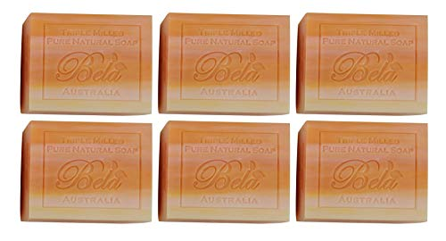 Bela Pure Natural Soaps Triple French Milled Moisturizing Natural Soap Bars - Orange Zest - Made in Australia - Holiday Gifts for Him/Her- 6 pack (3.5 oz each)