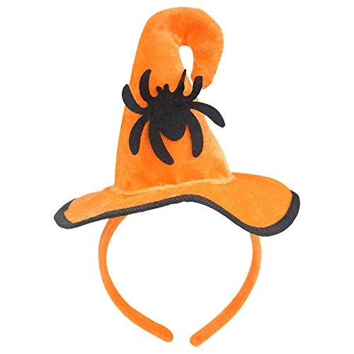 Pumpkin Head Costume Pattern (Huayang| Halloween Party Hat Props Decor, Orange Pumpkin Hat Witch Hat Spider/ Witch/ Bat/ Pumpkin/ Skull Pattern Headwear for Halloween Costume - Spider)