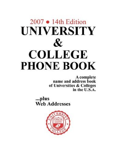 University & College Phone Book, 2007/14th Edition