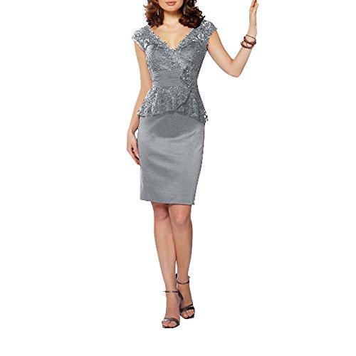 Ausschnitt Silber Braut Blau Glamour Knielang V La Marie Promkleider Royal Partykleider Abendkleider Ballkleider xfqw7xYF