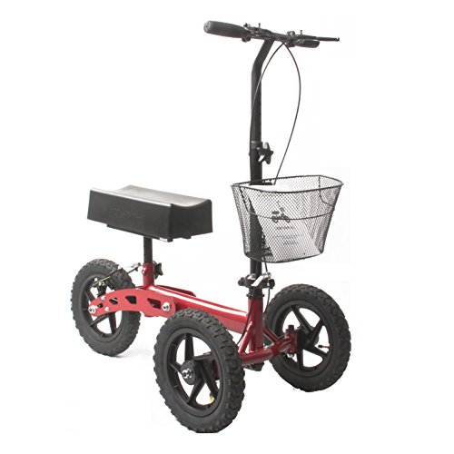 Health Port All-Road Knee Walker | Steerable Medical Scooter for Adults | Foldable & Lightweight | Smooth Pneumatic 12'' Wheels & Locking Parking Brakes | Adjustable Knee Pad & Handlebar | Red by Health Port (Image #1)