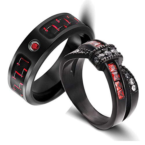 LOVERSRING Two Rings His and Hers Couple Ring Bridal Set His Hers 15pc Women Black Gold Filled Red Cz Man Stainless Steel Wedding Ring Band Set