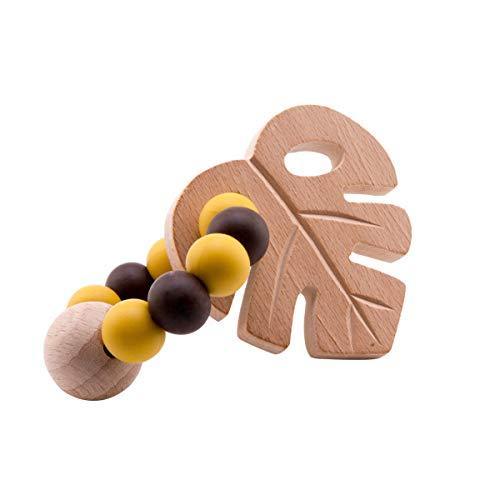 - Promise Babe Bpa Free Silicone Beads Teething Bracelet with Organic Wooden Leaf Pendant Baby Sensory Rattle,Toddler Nursing Jewelry Unique Shower Gift