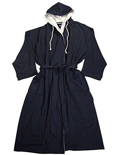 Harbor Bay - Mens Hooded Knit Robe, Navy 35467-1X/2X (Big And Tall Mens Robes)
