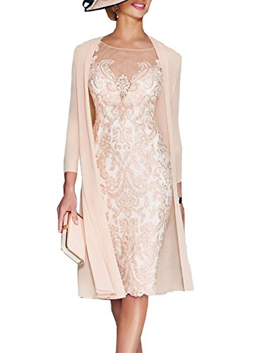 XSWPL Light Pink Women's Mother Of The Groom Dresses Tea Length With Jacket US12