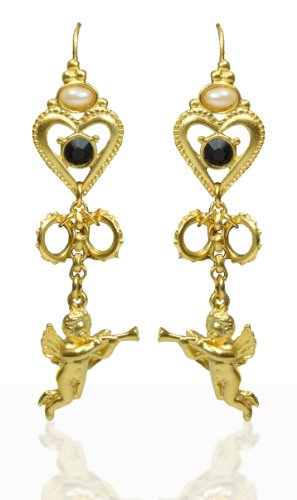 Gold Cherub with Trumpet Wire Hook Earrings- Materpeice Collection