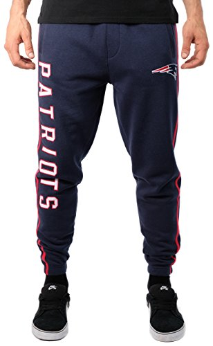 (ICER Brands NFL New England Patriots Men's Jogger Pants Varsity Stripe Fleece Sweatpants, Small, Navy)