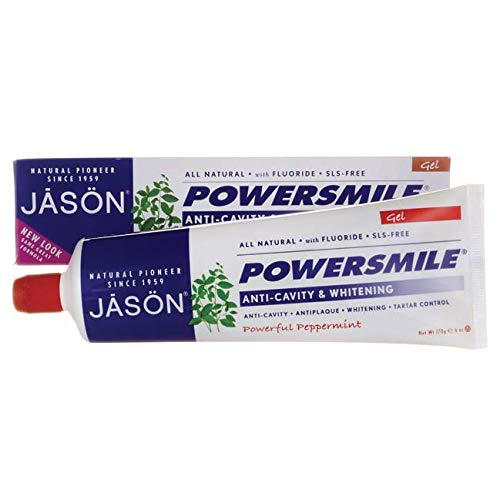 Natural Powersmile Whitening All Toothpaste - JASON Powersmile Anti-Cavity & Whitening Gel, Powerful Peppermint, 6 Ounce Tube