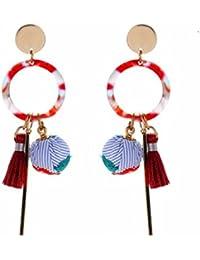Fashion Cloth Ball Dangle Earrings for Women Tassel Jewelry