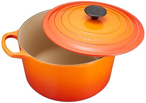 - Le Creuset L2595-242 Enameled Cast Iron 5.25 Quart Deep Round Dutch Oven, Flame