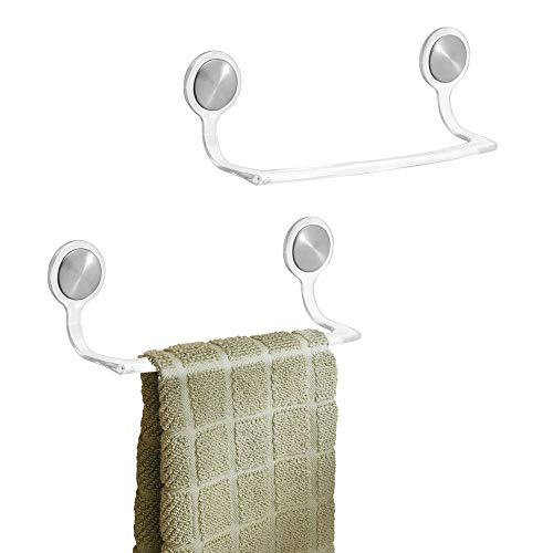 (mDesign Self-Adhesive Towel Bar Holder for Bathroom or Kitchen - Pack of 2, 8