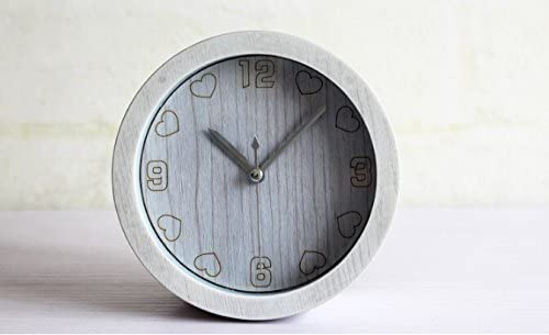 Apexshell TM Trendy Love Heart Shape Clock Face Minimalist Art Classic Small Round Slient Non-Ticking Travel Table Bedside Alarm Clock for Bedroom for Kids