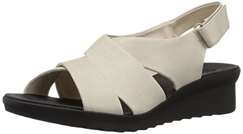 CLARKS Womens Caddell Petal Sandal, Champagne Metallic Synthetic, 7 Medium US