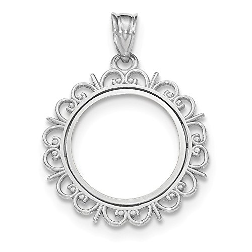 14k White Gold Prong 1/10ae Bezel Necklace Pendant for sale  Delivered anywhere in Canada