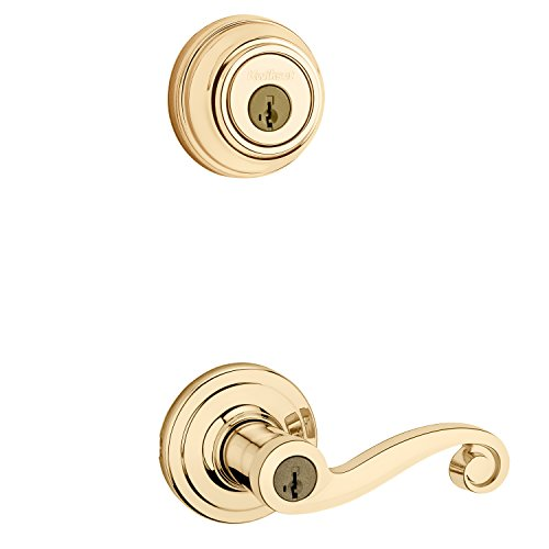 Kwikset 991 Lido Entry Lever and Single Cylinder Deadbolt Combo Pack featuring SmartKey in Polished Brass
