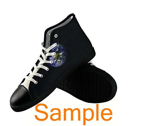 Christmas Theme Ladys Nonslip Black High Top Canvas Shoes Christmas Canvas Shoes05 ujixku