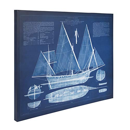Kate and Laurel Canvas Wall Art, Antique Ship Blueprint, 24x30, Blue and White