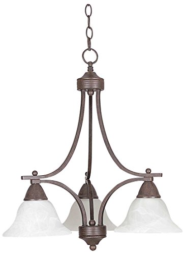 Sunset Lighting F5160-54 Chandelier with Faux Alabaster Glass, Painted Pewter Finish