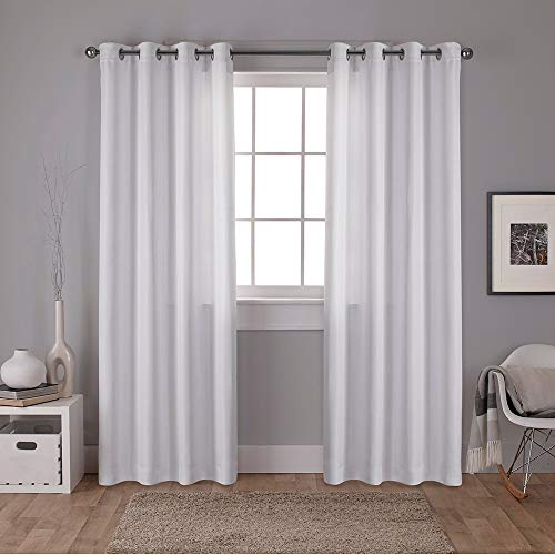 (Exclusive Home Curtains Carling Basketweave Textured Woven Blackout Window Curtain Panel Pair with Grommet Top, 52x84, Winter White, 2 Piece)