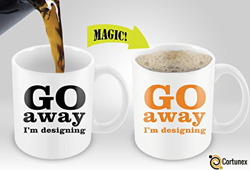 [Heat Sensitive Mug | Color Changing Coffee Mug With Sayings | Funny Coffee Cup For Designers and Artists | Go Away I'm Designing Coffee Cup 11oz 100%] (Cute Halloween Gifts For Coworkers)