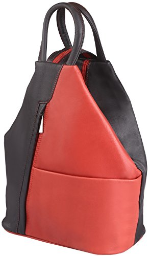 From 1 Made In Felderberg Soft Backpack black Cowhide Exquisitely And Red 2 red black Color Leather Full 'jolie' Handbag grain E0w0q8tr
