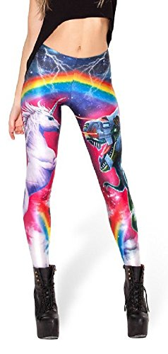 Funky Street Dance Costumes (Unicorn Versus Laser Beam Robot T-Rex Crazy Colorful Print Leggings (One Size (S/M), Crazy))